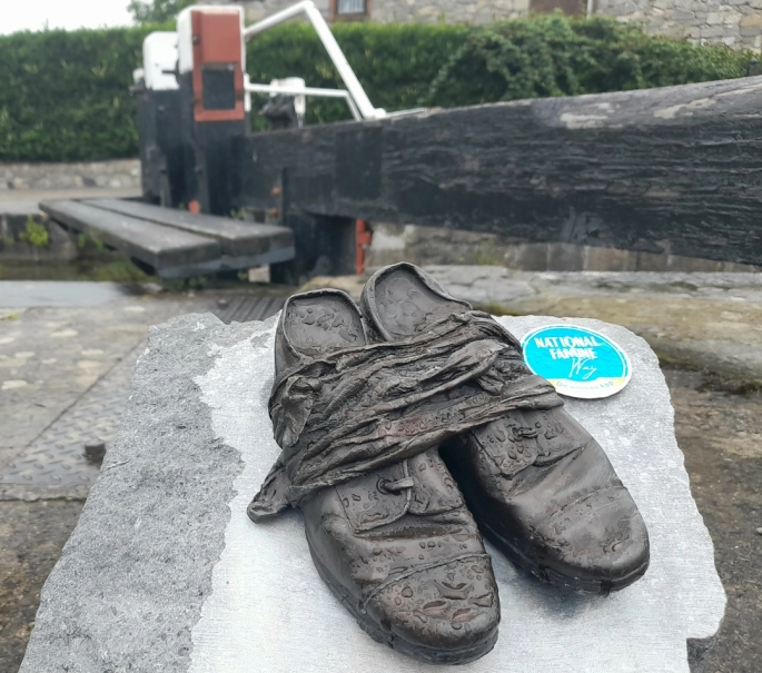 National Famine Way shoes sculpture, Royal Canal