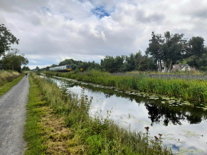 Train passing the Royal Canal, County Kildare